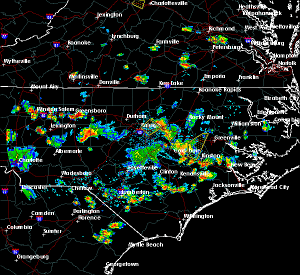 Radar Image for Severe Thunderstorms near Kenly, NC at 8/19/2019 5:36 PM EDT