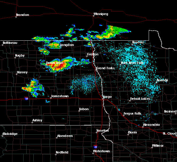 Radar Image for Severe Thunderstorms near Michigan City, ND at 8/20/2019 1:24 AM CDT