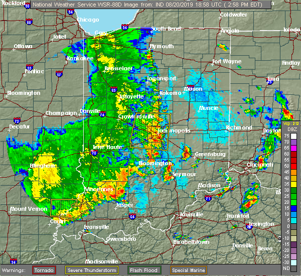 Radar Image for Severe Thunderstorms near Greenfield, IN at 8/20/2019 3:02 PM EDT