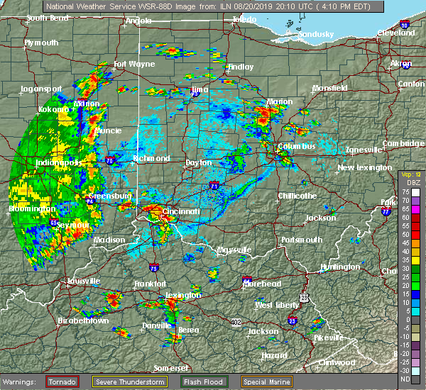 Radar Image for Severe Thunderstorms near Dunlap, OH at 8/20/2019 4:13 PM EDT