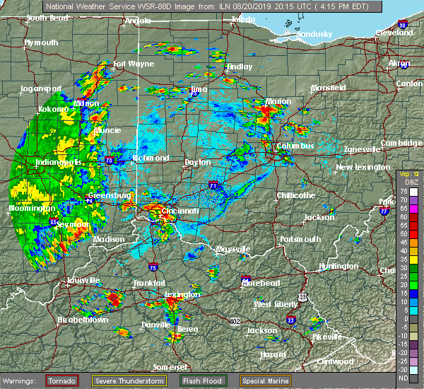 Radar Image for Severe Thunderstorms near Dayton, OH at 8/20/2019 4:19 PM EDT