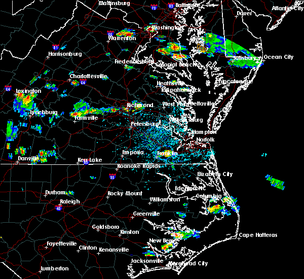 Radar Image for Severe Thunderstorms near Suffolk, VA at 8/20/2019 4:31 PM EDT
