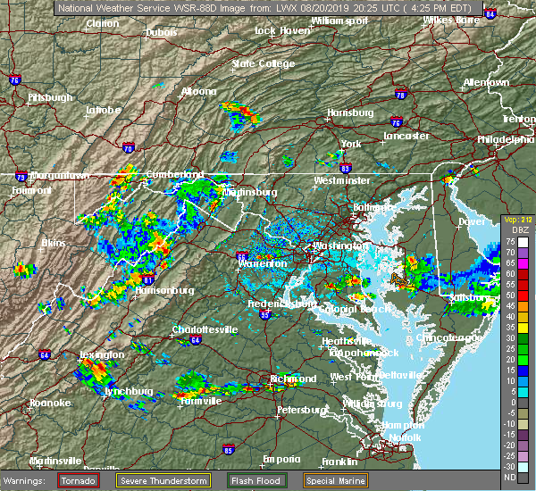 Radar Image for Severe Thunderstorms near Timberville, VA at 8/20/2019 4:30 PM EDT