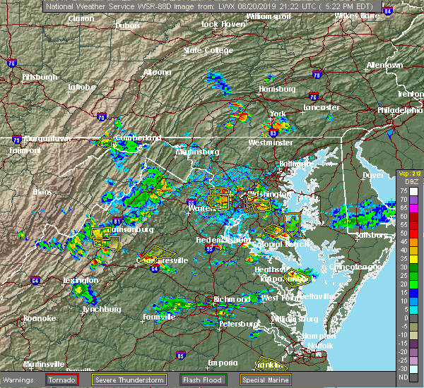 Radar Image for Severe Thunderstorms near Harrisonburg, VA at 8/20/2019 5:29 PM EDT