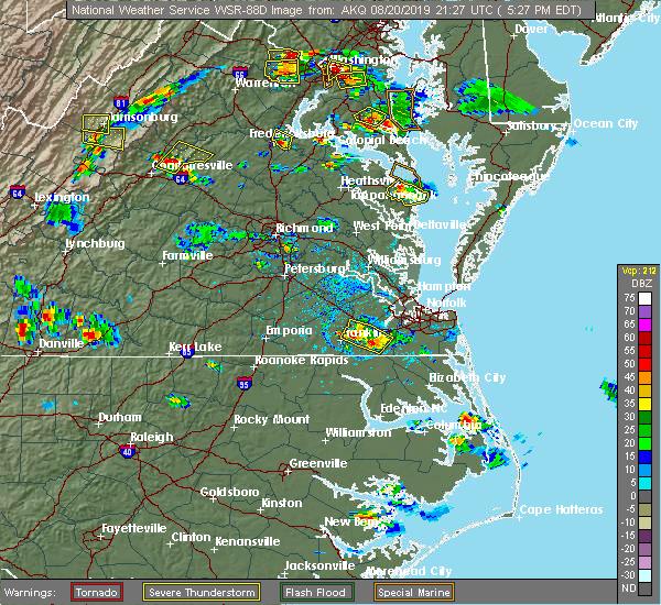 Radar Image for Severe Thunderstorms near Heathsville, VA at 8/20/2019 5:28 PM EDT