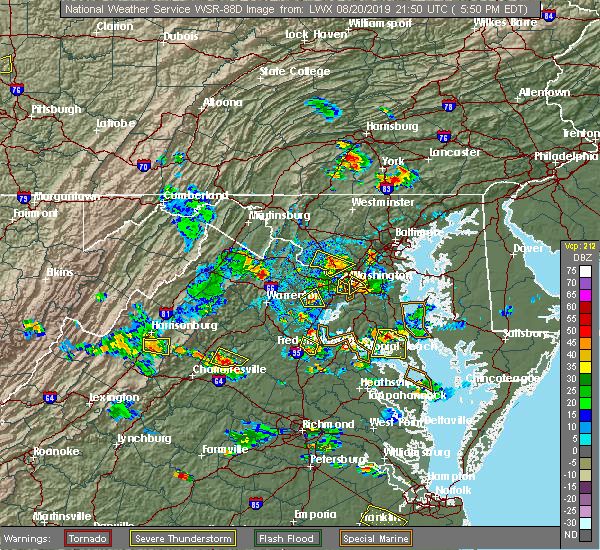 Radar Image for Severe Thunderstorms near Seven Corners, VA at 8/20/2019 5:55 PM EDT