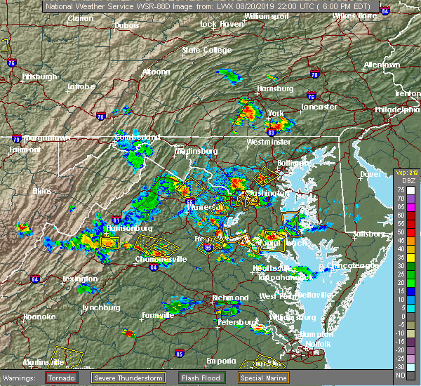 Radar Image for Severe Thunderstorms near Twin Lakes, VA at 8/20/2019 6:04 PM EDT