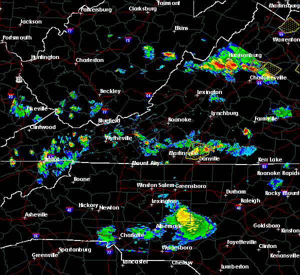 Radar Image for Severe Thunderstorms near Blairs, VA at 8/20/2019 6:04 PM EDT