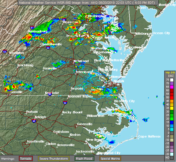 Radar Image for Severe Thunderstorms near Suffolk, VA at 8/20/2019 6:05 PM EDT