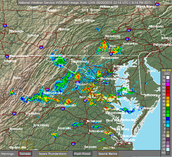 Radar Image for Severe Thunderstorms near North Springfield, VA at 8/20/2019 6:18 PM EDT