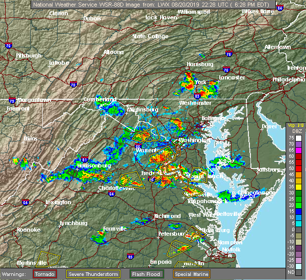 Radar Image for Severe Thunderstorms near Poolesville, MD at 8/20/2019 6:35 PM EDT