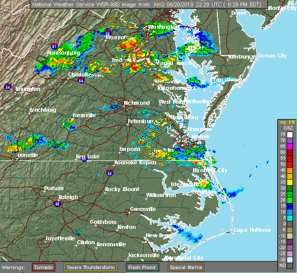 Radar Image for Severe Thunderstorms near Wakefield, VA at 8/20/2019 6:35 PM EDT