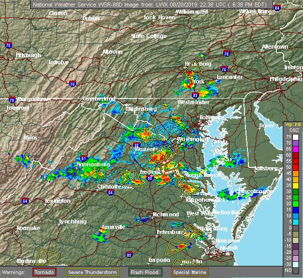 Radar Image for Severe Thunderstorms near Madison, VA at 8/20/2019 6:44 PM EDT