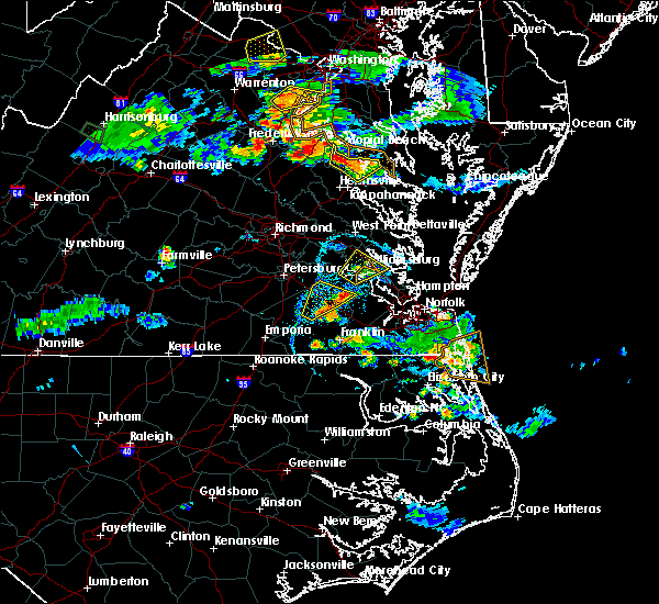 Radar Image for Severe Thunderstorms near Wakefield, VA at 8/20/2019 6:55 PM EDT