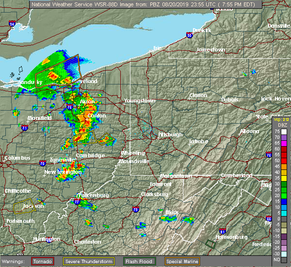 Radar Image for Severe Thunderstorms near Tuscarawas, OH at 8/20/2019 7:58 PM EDT