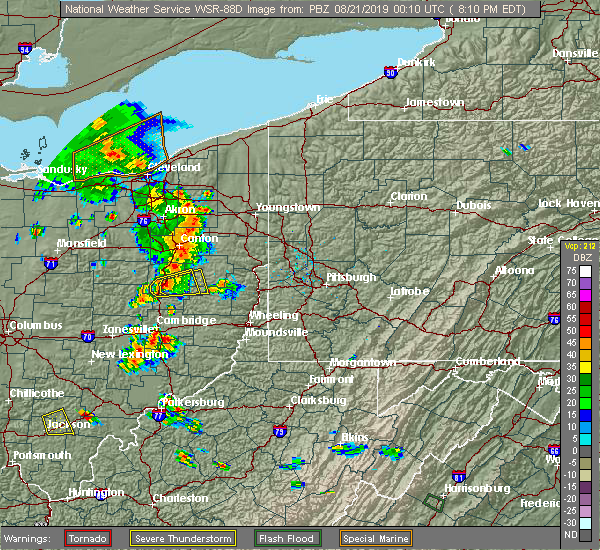 Radar Image for Severe Thunderstorms near Tuscarawas, OH at 8/20/2019 8:13 PM EDT