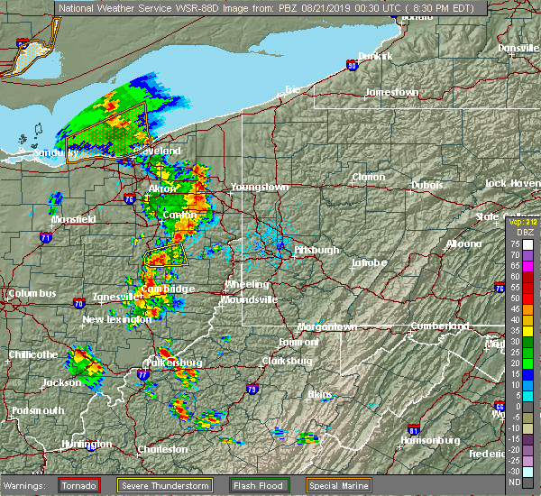 Radar Image for Severe Thunderstorms near Tuscarawas, OH at 8/20/2019 8:37 PM EDT