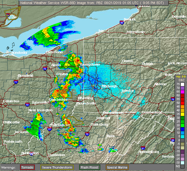 Radar Image for Severe Thunderstorms near Tuscarawas, OH at 8/20/2019 9:10 PM EDT