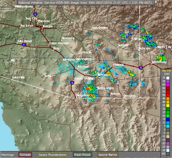 Radar Image for Severe Thunderstorms near Patagonia, AZ at 8/21/2019 2:04 PM MST