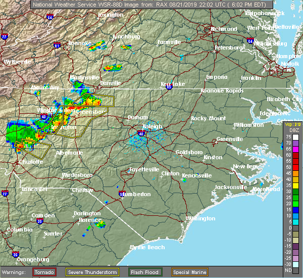 Radar Image for Severe Thunderstorms near Thomasville, NC at 8/21/2019 6:10 PM EDT