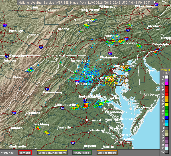 Radar Image for Severe Thunderstorms near Brock Hall, MD at 8/21/2019 6:50 PM EDT