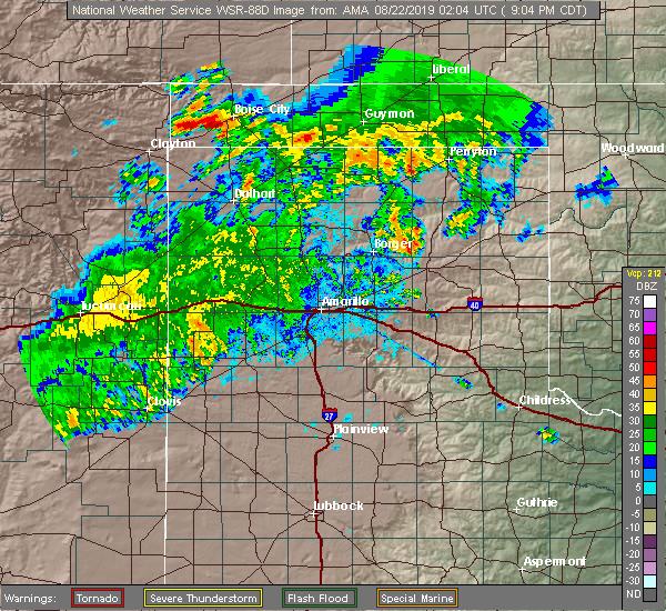 Radar Image for Severe Thunderstorms near Boise City, OK at 8/21/2019 9:09 PM CDT