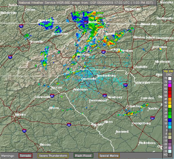 Radar Image for Severe Thunderstorms near Lenoir, NC at 8/22/2019 1:13 PM EDT