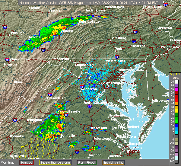 Radar Image for Severe Thunderstorms near Pantops, VA at 8/22/2019 4:25 PM EDT