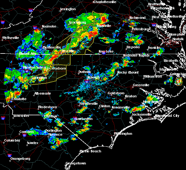Radar Image for Severe Thunderstorms near Thomasville, NC at 8/22/2019 4:58 PM EDT