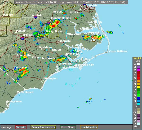 Radar Image for Severe Thunderstorms near Trenton, NC at 8/22/2019 5:35 PM EDT