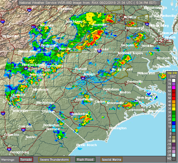 Radar Image for Severe Thunderstorms near Milton, NC at 8/22/2019 5:35 PM EDT