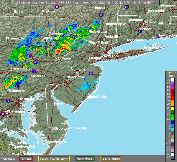 Radar Image for Severe Thunderstorms near Wind Gap, PA at 8/22/2019 6:47 PM EDT