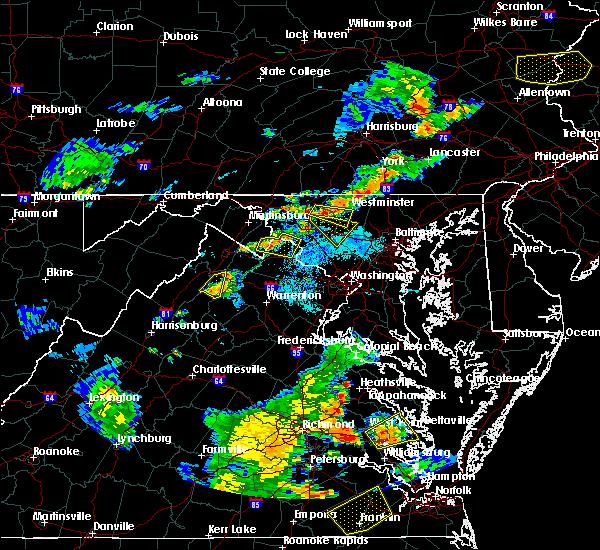 Radar Image for Severe Thunderstorms near Shenandoah Farms, VA at 8/22/2019 6:59 PM EDT