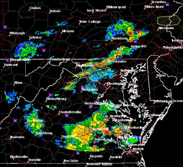 Radar Image for Severe Thunderstorms near Shenandoah Farms, VA at 8/22/2019 7:06 PM EDT