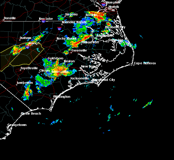 Radar Image for Severe Thunderstorms near Jacksonville, NC at 8/22/2019 7:15 PM EDT