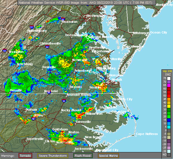 Radar Image for Severe Thunderstorms near West Point, VA at 8/22/2019 7:17 PM EDT