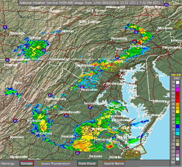 Radar Image for Severe Thunderstorms near Westminster, MD at 8/22/2019 7:38 PM EDT