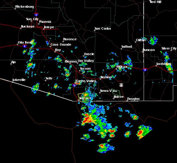 Radar Image for Severe Thunderstorms near Beyerville, AZ at 8/22/2019 5:12 PM MST