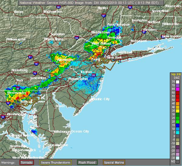 Radar Image for Severe Thunderstorms near Roselle Park, NJ at 8/22/2019 8:19 PM EDT