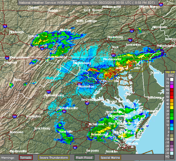 Radar Image for Severe Thunderstorms near Garrett Park, MD at 8/22/2019 9:10 PM EDT