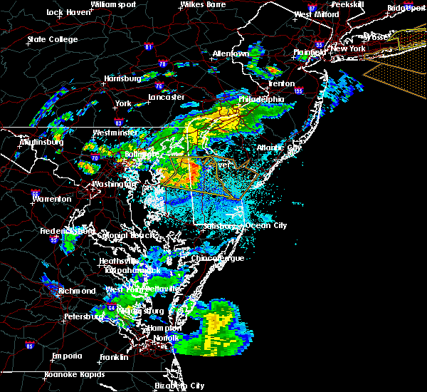 Radar Image for Severe Thunderstorms near Dover, DE at 8/22/2019 10:41 PM EDT