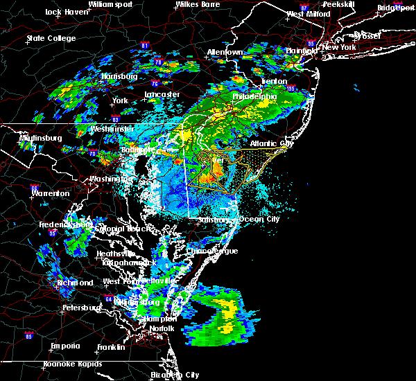 Radar Image for Severe Thunderstorms near Harrington, DE at 8/22/2019 11:11 PM EDT