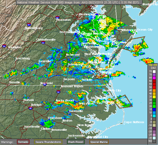 Radar Image for Severe Thunderstorms near Virginia Beach, VA at 8/23/2019 5:37 PM EDT