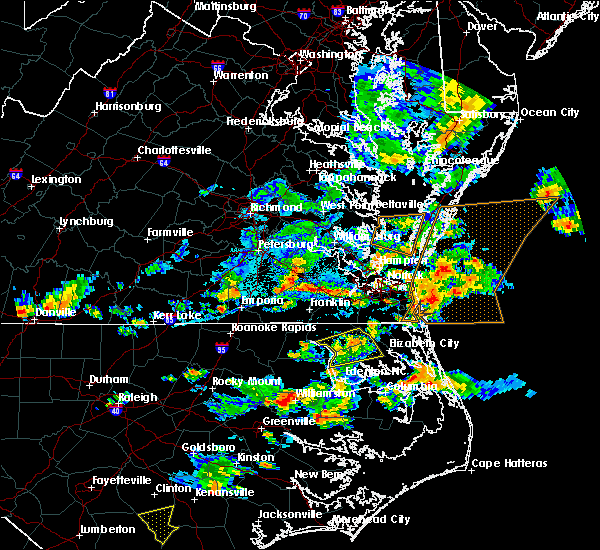 Radar Image for Severe Thunderstorms near Virginia Beach, VA at 8/23/2019 6:28 PM EDT