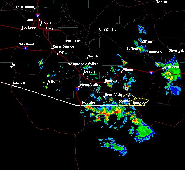Radar Image for Severe Thunderstorms near Douglas, AZ at 8/23/2019 4:52 PM MST