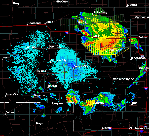 Radar Image for Severe Thunderstorms near La Crosse, KS at 8/25/2019 12:45 AM CDT