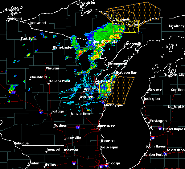 Radar Image for Severe Thunderstorms near Luxemburg, WI at 8/27/2019 2:58 PM CDT