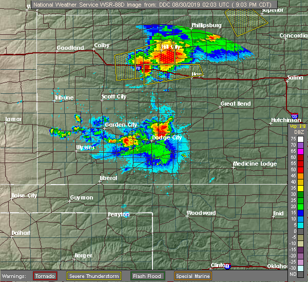 Radar Image for Severe Thunderstorms near Ellis, KS at 8/29/2019 9:10 PM CDT