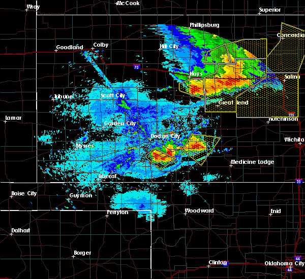 Radar Image for Severe Thunderstorms near Byers, KS at 8/29/2019 10:34 PM CDT