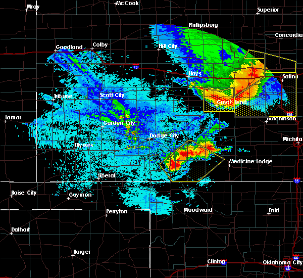 Radar Image for Severe Thunderstorms near Coldwater, KS at 8/29/2019 11:25 PM CDT